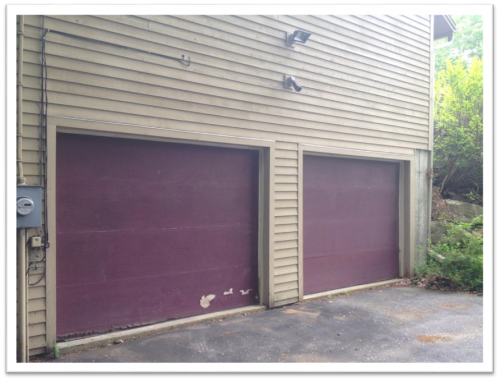 Alton NH garage door replacement (before photo)